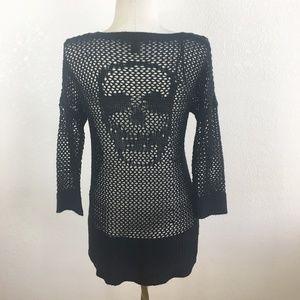 Rock & Republic Open Knit Skull Sweater XS